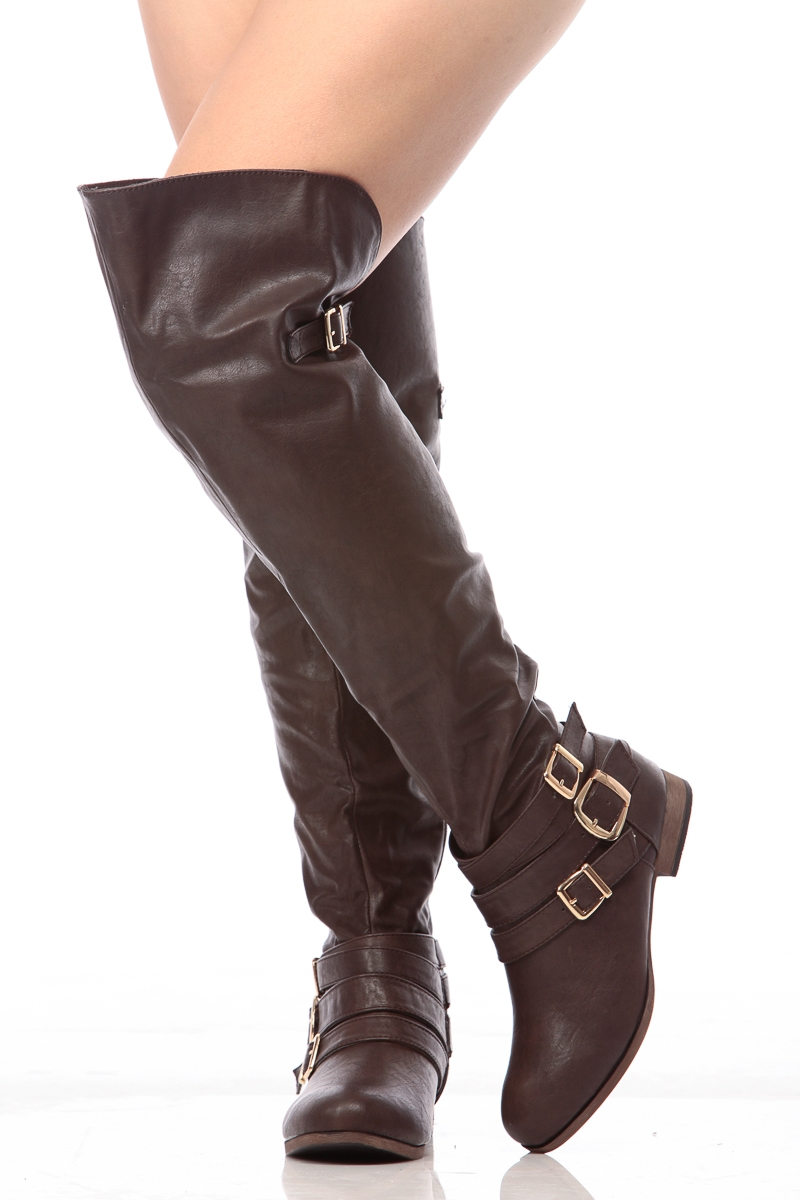 brown faux leather the knee boots