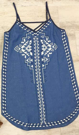 dress denim embroidered spaghetti strap