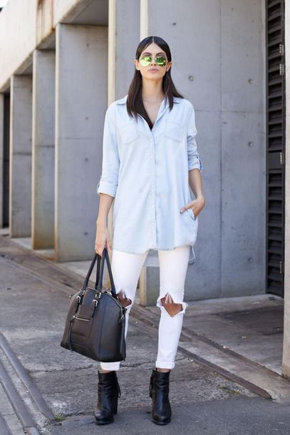 jeans sunglasses light blue shirt black bag black boots white distressed jeans blogger