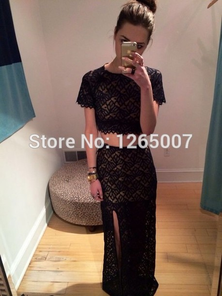 Aliexpress.com : Buy 2014 Fashion Round O Neck Short Sleeves Back Lace High Slit Sexy Crop Top Two Pieces Long Dress Formal Dress Simple from Reliable dress pakistan suppliers on SFBridal