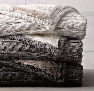 home accessory knitwear blanket charcoal off-white