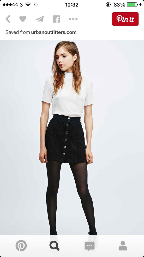 ASOS Denim Dolly Button Front Mini Aline Skirt In Washed Black at ...