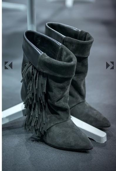 shoes isabel marant boots hm fringe boots fringe