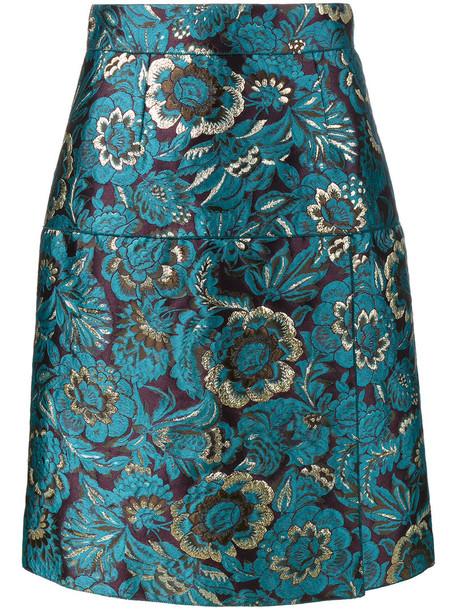 Dolce & Gabbana skirt women cotton blue silk wool