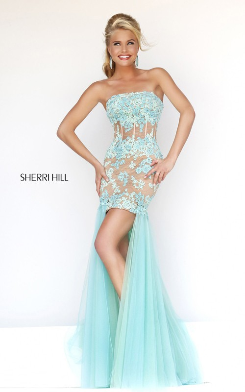 2014 Aqua High low Prom Dress Sherri Hill 11110