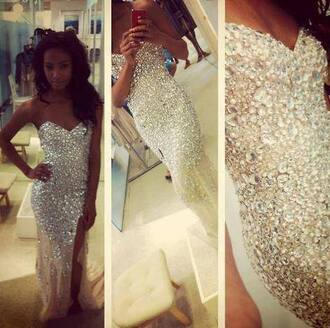 dress prom formal sparkle sparkly formal dress prom dress sparkling dress mermaid slit couture silver glitter diamonds long dress grad dress sweet heart