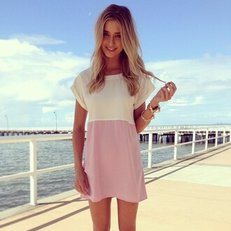 summer outfits pink cute white tumblr dress baige beautiful blonde hair hairstyles white dress pink dress pink and white white and pink colorful colors color colour light color drss