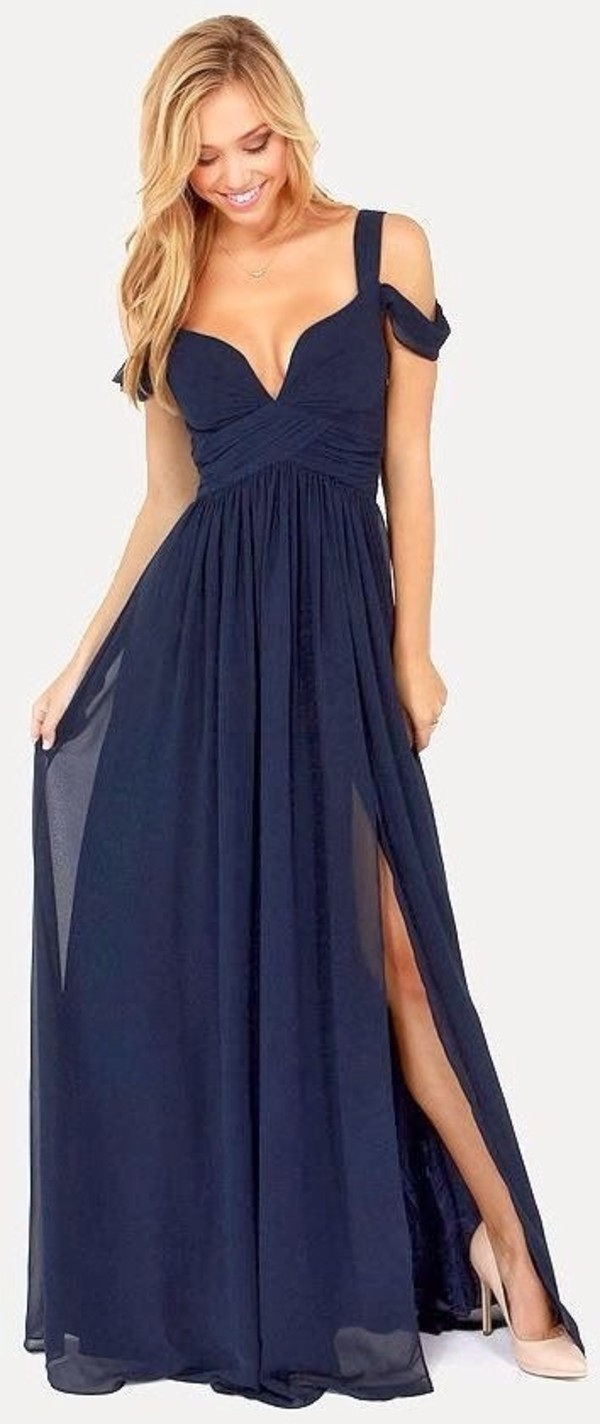 Elegant navy blue dress maxi dress cocktail dress for Navy blue maxi dress for wedding