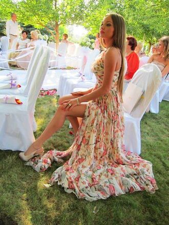 dress floral maxi dress long dress pink flowers floral dress high low dress asymmetrical strapless double slit slit dress floral maxi dress spring maxi fashion gown evening dress wedding dress floral strapless spring dress colorful