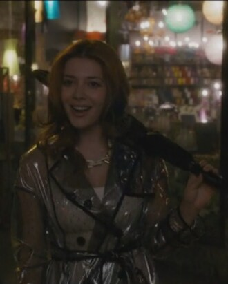 revenge elena satine louise ellis raincoat