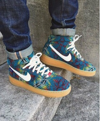 shoes blue nike shoes colorful white tribal pattern