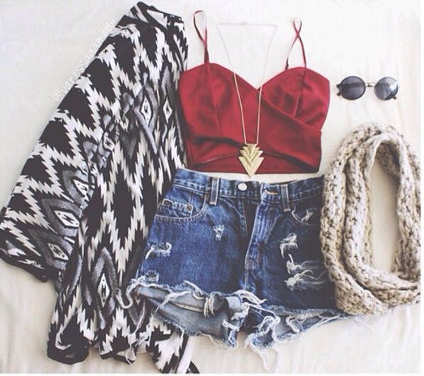 shorts shirt blouse jewels sunglasses scarf knitted scarf cardigan bustier crop tops swag jacket aztec tribal cardigan black white