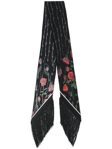 embroidered women scarf floral black silk