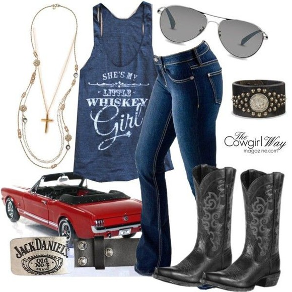tank top sunglasses cross necklace country country music cowboy boots cowgirl country outfit jesus summer outfits