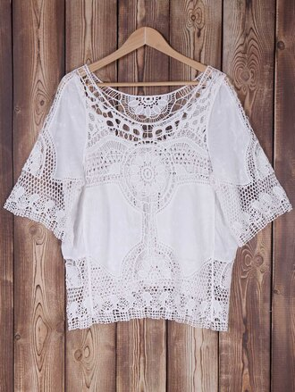 top white boho girly fashion style festival embroidered gamiss
