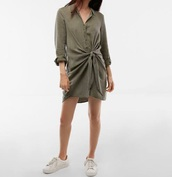 dress,tie waist dress,khaki