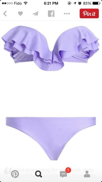 bikini swimwear bikini top purple bikini light purple strapless bikini sweetheart neckline