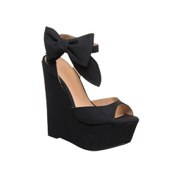 Penny loves Kenny Dwight Bow Wedge Black up to 70% off | Shoes | Little Black Bag