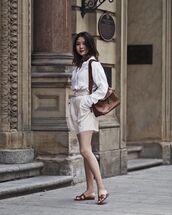 bag,brown bag,shorts,top,shoes