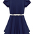 ROMWE | Zippered Belted Falbala Pleated Blue Dress, The Latest Street Fashion
