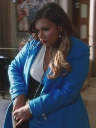 dress v neck colorblock royal blue mindy kaling mindy lahiri the mindy project coat curvy