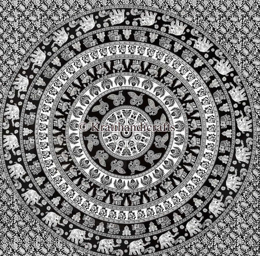 Traditional Black And White Color Elephant Mandala Tapestry Queen Size Bed Sheet Hippie Boho Wall Hanging