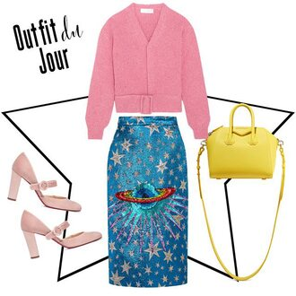 fashion foie gras blogger sweater skirt bag shoes pink sweater yellow bag pumps pink heels