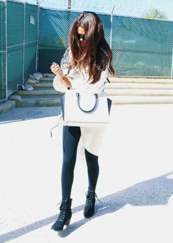 pants selena gomez skinny pants shirt cute high heels boots bag shoes