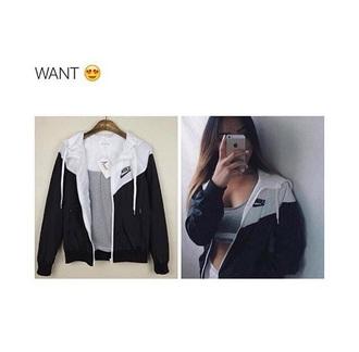 jacket jack nike black white hoodie