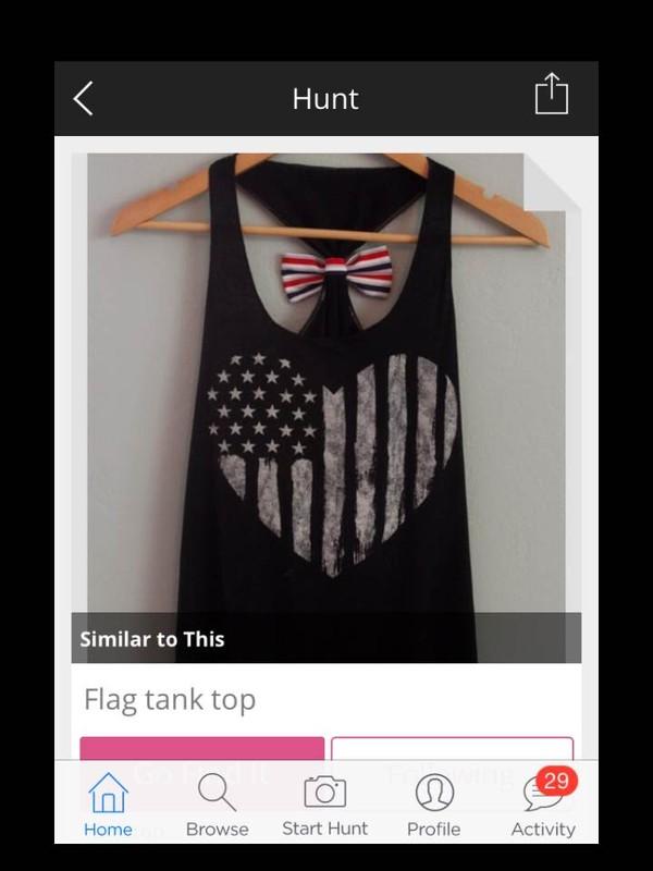 shirt americn flag heart tank top bow