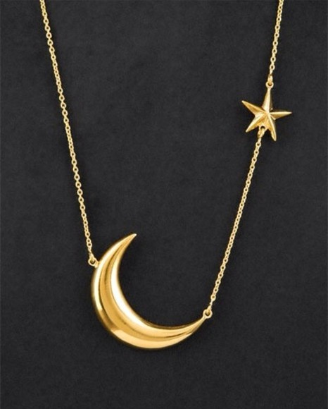 jewels necklace moon star sun gold chain long necklace gold, necklace, moon, star,