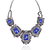 Blue Gemstone Retro Silver Diamond Chain Necklace - Sheinside.com
