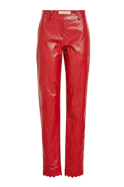 Philosophy di Lorenzo Serafini Faux Leather Pants with Ruffle Trim Ankles  in red