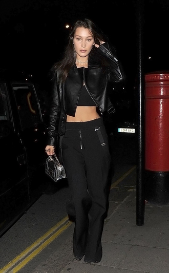 jewels crop tops top pants bella hadid streetstyle london fashion week 2016 biker jacket jacket fall outfits