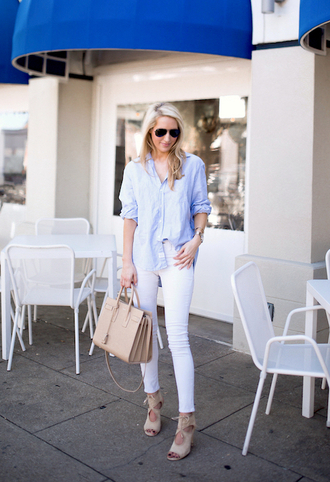 krystal schlegel blogger jeans shoes bag shirt button up blue top nude bag beige bag cropped cropped jeans nude shoes flats blue shirt white jeans skinny jeans ysl bag ysl handbag sunglasses aviator sunglasses sandals sandal heels high heel sandals spring outfits