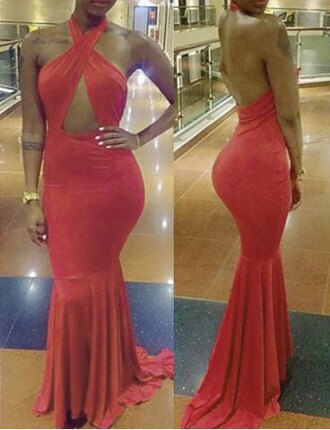dress halter dress red sexy open back fashion style mermaid prom dress