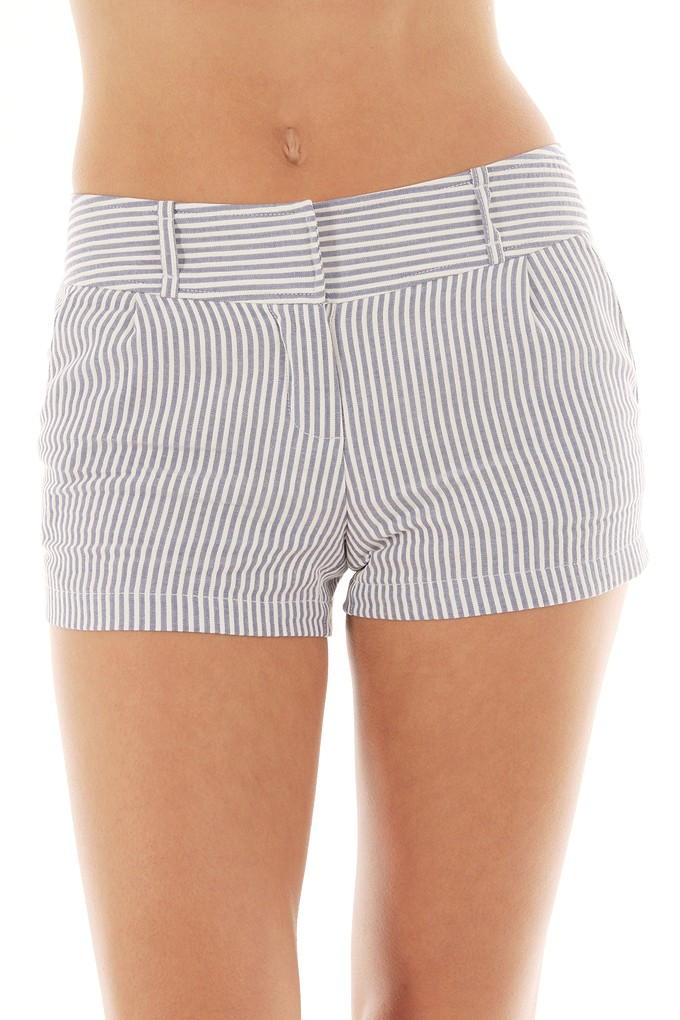 STRIPED WOVEN SHORTS-Shorts-denim shorts,leather shorts,striped ...