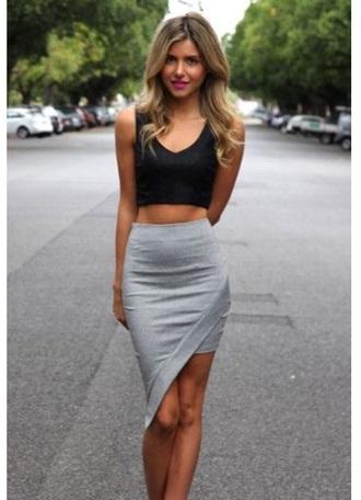 skirt grey skirt gray skirt asymmetrical skirt