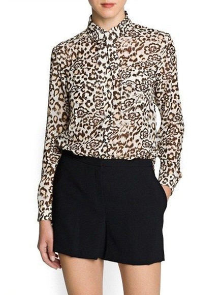 shirt printed fashion shirt leopard gorgeous outfit summer outfits