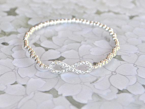 Metallic silver infinity bracelet beaded pave par jeneelovee