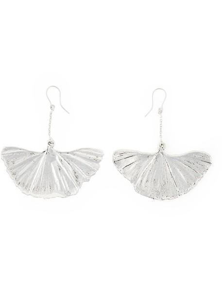 AURELIE BIDERMANN women earrings silver grey metallic jewels