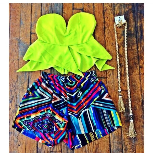 aztec tribal pattern colorful shorts top crop tops rainbow