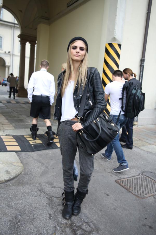 pants cara delevingne cara delevinge streetstyle model jacket