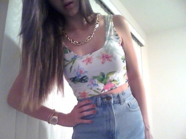 shirt High waisted shorts t-shirt chain
