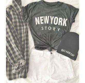 cardigan plaid button up flannel black tumblr bad hair day beanie new york story white shirt