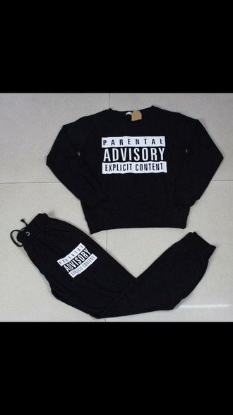 jumpsuit cute dope swag style parental advisory explicit content parental advisory sweater sweatshirt sweater/sweatshirt sweatpants joggers fashion comfortable comfy outfits black and white pants