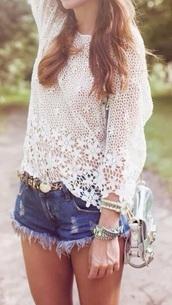 summer outfits,blouse,t-shirt,top,crochet,bag,style,belt,crochet crop top,ripped shorts,denim shorts,denim,High waisted shorts,streetwear,streetstyle,white t-shirt,white crop tops,jewels,lace top