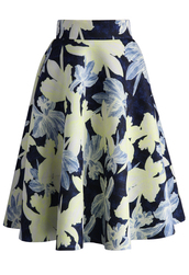 skirt,illusive orchid sketch airy midi skirt,chicwish,midi,floral