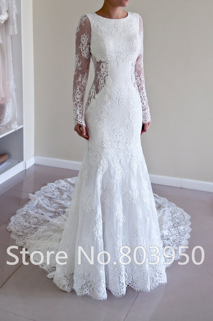 Buy new wedding dresses long sleeve low for Wedding dress undergarments low back