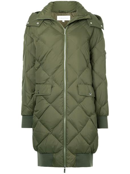 Ck Calvin Klein coat women quilted green